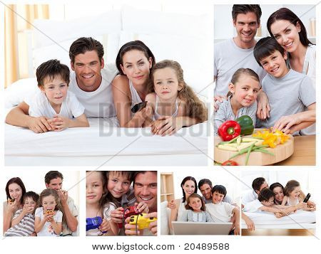 Collage Of A Family Spending Time Together At Home