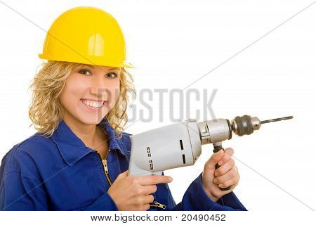 Female Worker With Drilling Machine