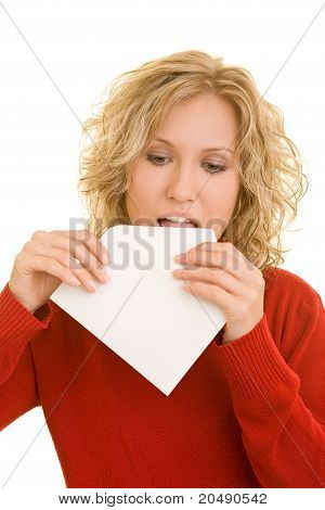 Woman Sealing An Envelope