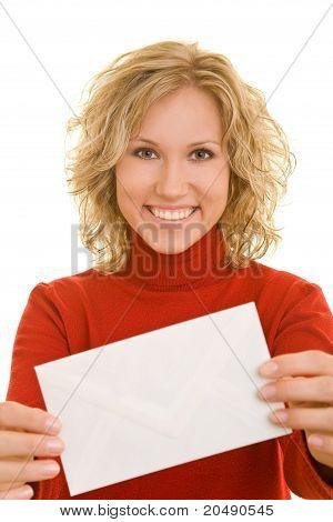 Mujer mostrando envolvente