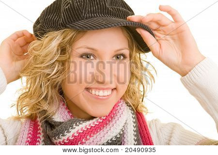 Woman Putting On Cap