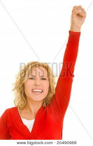 Happy Woman Clenching Her Fist