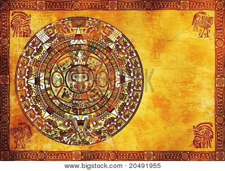 Maya calendar on ancient wall