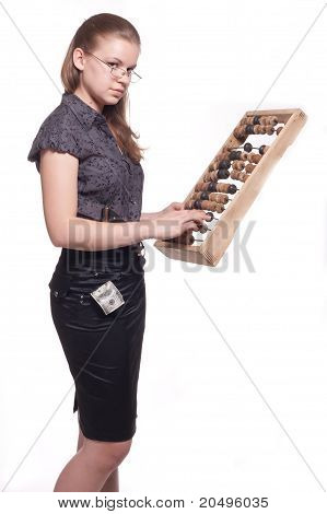 Girl With Big Wooden Abacus Background