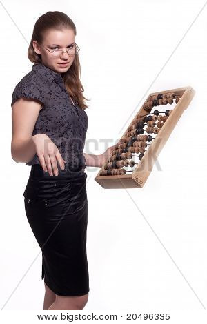 Girl With Big Wooden Abacus
