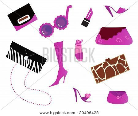 Women Icons And Accessories - Bags And Shoes ( Pink ).