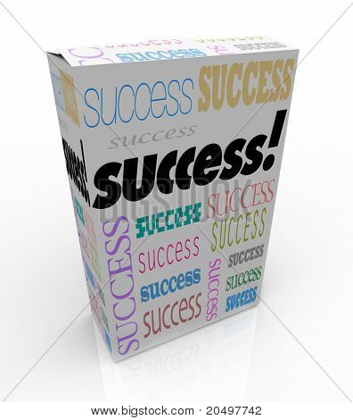 A product box with with the word Success calling attention to it, symbolizing the self-help movement offering improvement tips and techniques via channels such as infomercials