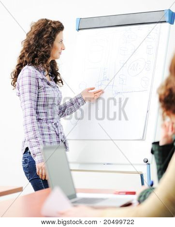 Female executive making  presentation to her colleagues in modern environment