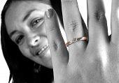 Beautiful Girl Wearing Engagement Ring poster