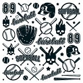 Icon And Badge Set Of Baseball And Softball Equipment poster