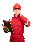 Engineer With Clipboard Wearing A Red Helmet Or Hard Hat And Safety Uniform Are Using Smartphone. poster