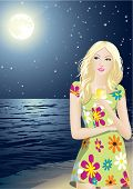 stock photo of young adult  - The young beautiful girl enjoys a starlit night - JPG