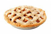 Homemade Apple Pie With Lattice Pastry Isolated On A White Background, Side View poster