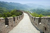 stock photo of qin dynasty  - the Great Wall of China in spring - JPG