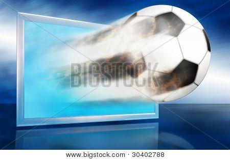 Fußball Ball durchlaufen Bluescreen.