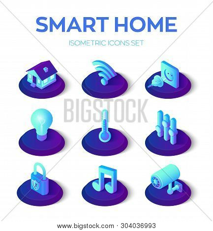 poster of Smart Home. 3d Isometric Icons Set. Remote House Control System. Iot Concept. Smart Home Connection