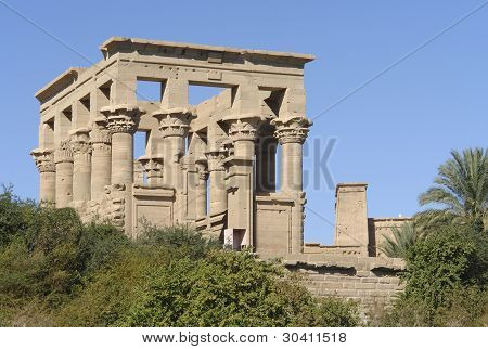 Sunny Illuminated Temple Of Philae In Egypt