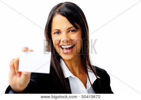 joyful young businesswoman holding a business card and laughing isolated on white