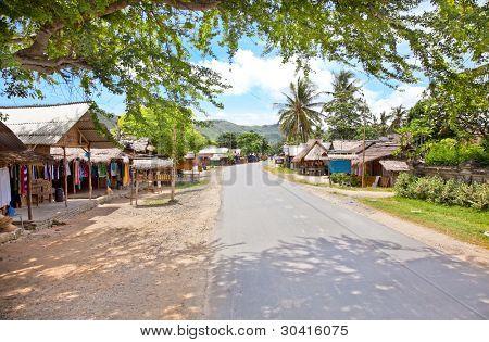 Main street in Kuta village. Lombok. Indonesia