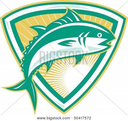 Thunfisch springen mit Schild retro