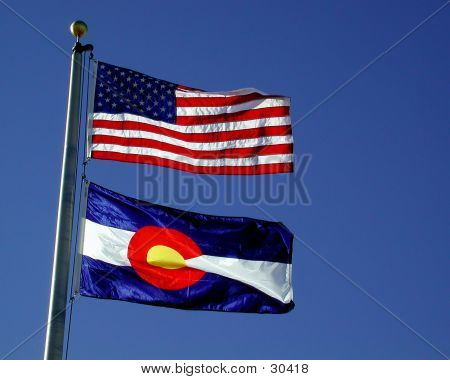 Colorado & US Flags