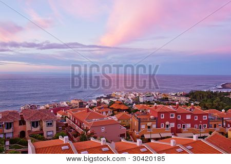 Puerto de la Cruz at sunset, Tenerife, Spain