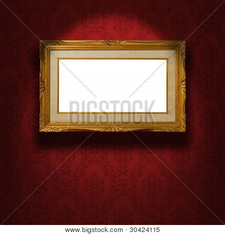 Empty Golden Frame On The Wall.