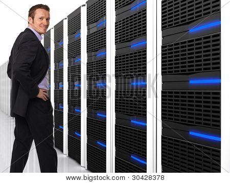 3d image of datacentre with lots of server and happy worker