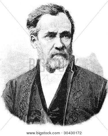 Louis Pasteur - French microbiologist and chemist, member of the French Academy (1881).  Illustration from