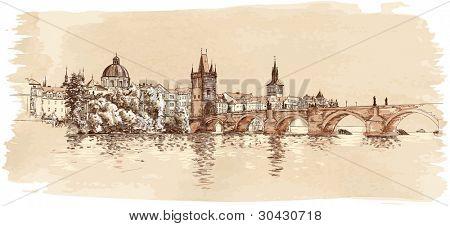 Panorama of Prague. View of Charles Bridge and the Vltava river embankment. Bitmap copy my vector