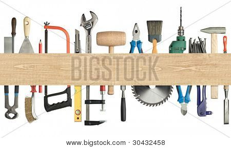 Carpentry, construction background. Tools underneath the wood plank. Image has seamless edges.