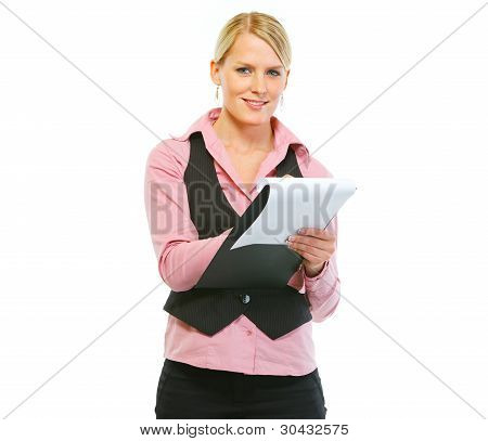 Woman Employee Writing In Clipboard