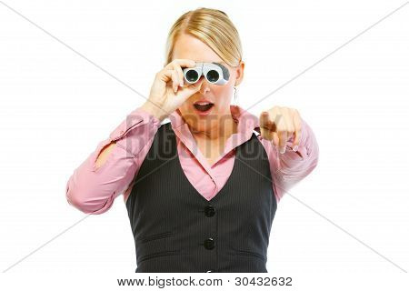 Surprised Woman Employee Looking Through Binoculars And Pointing In Camera