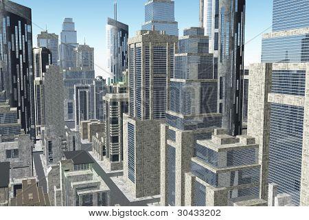 Futuristic Metropolis Aerial 3D render