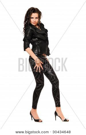 Pretty Young Woman In Black Clothes