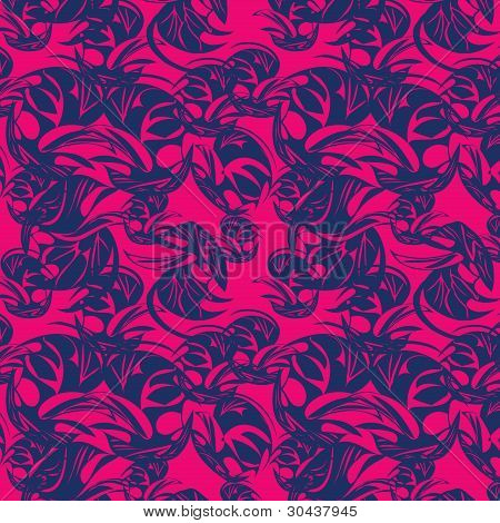 Rose Seamless Background With Blue Abstract Elements