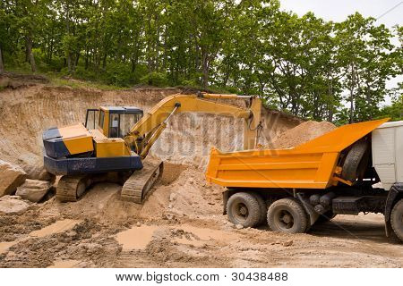 Excavations. A excavator and trek.
