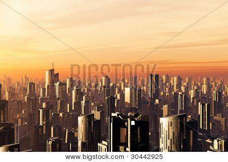 futuristische Metropole 3d render