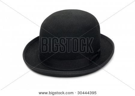 Elegante negro sombrero de fieltro. Aislado sobre un fondo blanco.