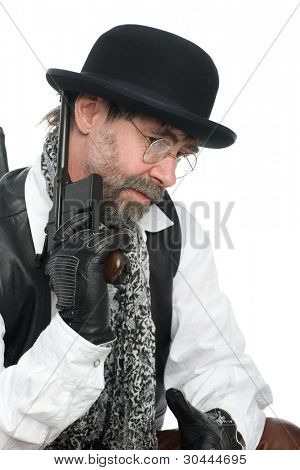A man dressed as a retro with a Mauser in his hand.