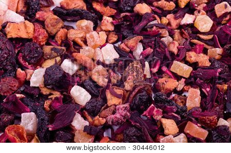 Flower and fruit aromatic tea. Beautiful background