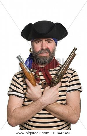 Terrible bearded pirate in tricorn hat with a muskets.