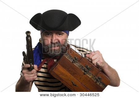 Pirate with a musket holding chest. Isolated on white.