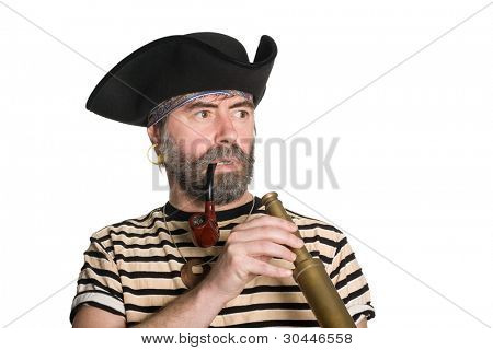 Pirate keeps his telescope and looks anxiously to the side.