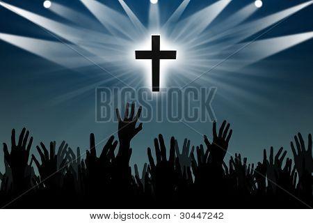 Silhouetet Of People's Hand Worshiping