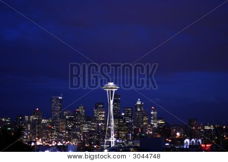 Seattle Skyline At Night From Queen Anne