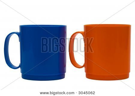 Blau und Orange Becher
