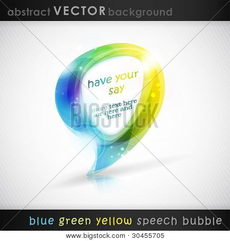 Speech bubble with light effects. Semitransparent overlying shapes forming an abstract bubble in shades of blue, green and yellow. Space for your text. eps 10
