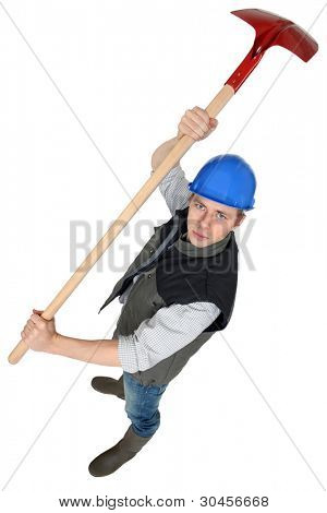 Angry man with a shovel