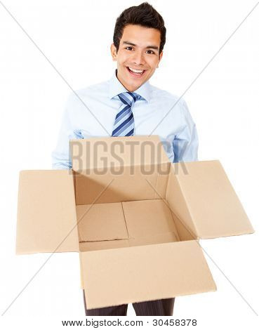 Business man holding an empty box - isolated over a white background